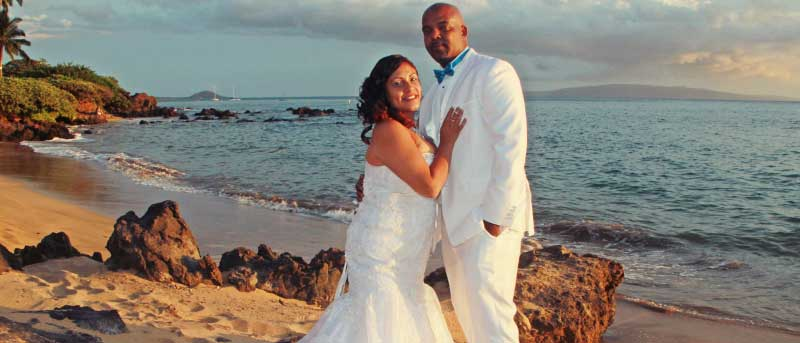 Sunset beach wedding on Maui.